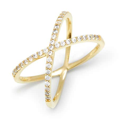 Cubic Zirconia Gold Criss Cross Ring