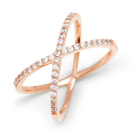 Cubic Zirconia Rose Gold X Ring