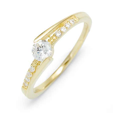 Simple Modern CZ Gold Plate Sterling Silver Promise Ring