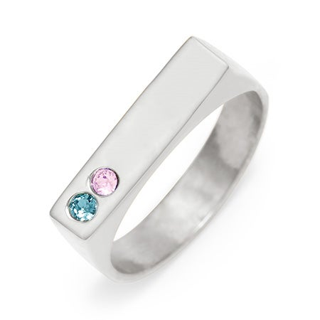 2 Stone Birthstone Silver Name Bar Ring