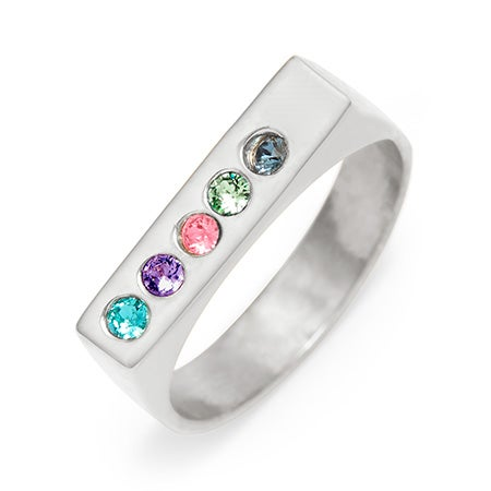 Engravable Silver 5 Stone Birthstone Name Bar Ring