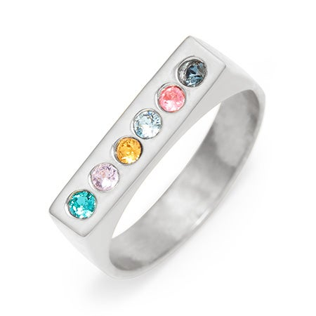 .925 Sterling Silver 6 Stone Birthstone Name Bar Ring