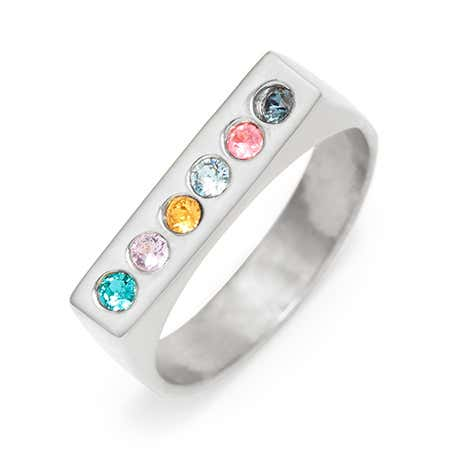 Silver 6 Stone Name Bar Birthstone Ring