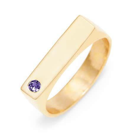 Single Stone Name Bar Gold Ring at Eve's Addiction