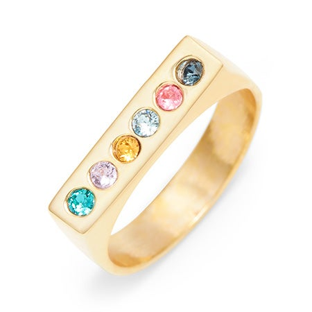 6 Stone Personalized Gold Birthstone Bar Ring
