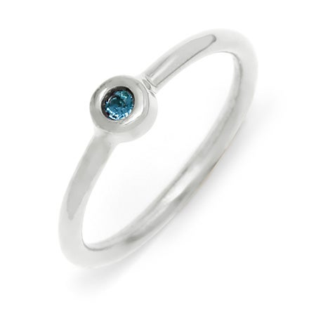 Petite Bezel Solitaire 1 Stone Birthstone Silver Ring
