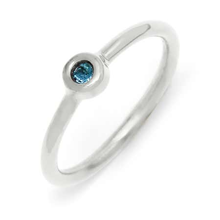 display slide 1 of 4 - Petite Bezel Solitaire 1 Stone Birthstone Silver Ring - selected slide