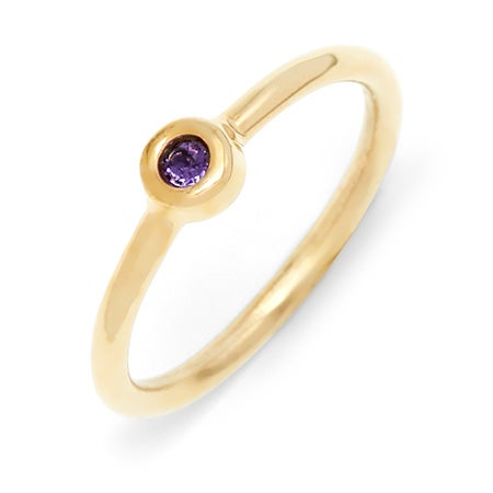 Petite Bezel Solitaire 1 Stone Birthstone Gold Ring
