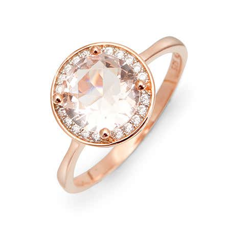 Rose Gold Halo CZ Morganite Sterling Silver Base Ring