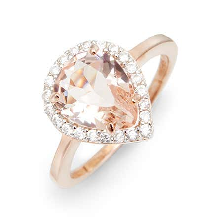 Rose Gold Morganite Pear Shaped CZ Engagement Ring