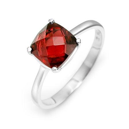 January Garnet Birthstone Cushion Cut Gemstone Silver Ring