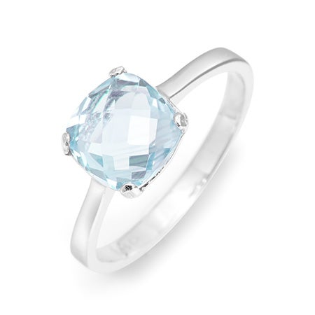March Blue Topaz Birthstone Ring Set In Sterling Silver
