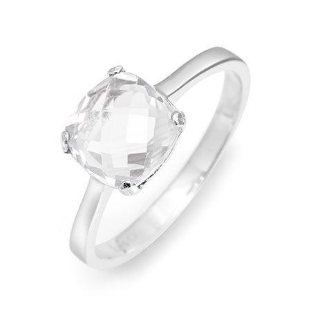 April Gemstone White Topaz Square Cut Silver Birthstone Ring