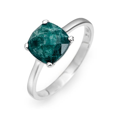 May Emerald Birthstone Ring in 925 Sterling Silver Setting