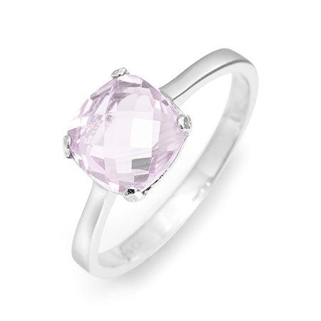 June Pink Amethyst Birthstone Ring in 925 Sterling Silver