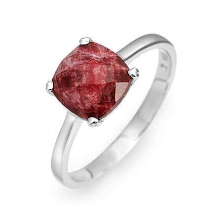 July Ruby Cushion Cut Birthstone Gemstone Silver Ring