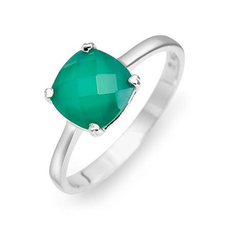 August Peridot Silver Birthstone Ring Cushion Cut Gemstone