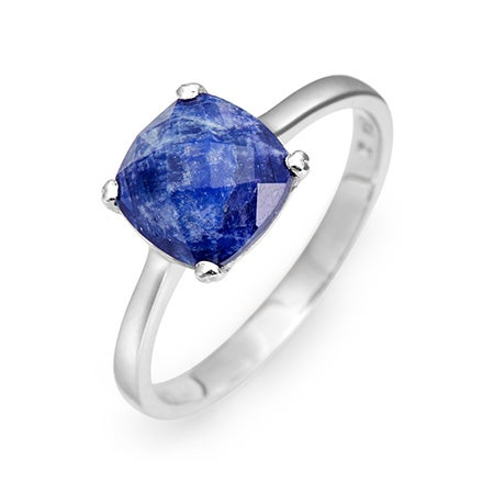 September Sapphire Cushion Cut Gemstone Sterling Silver Ring