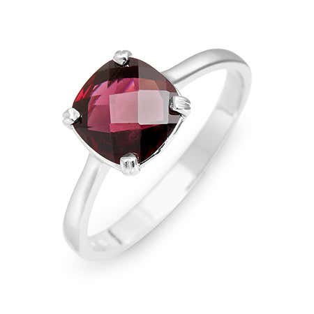 October Rhodolite Birthstone Ring With Cushion Cut Gemstone