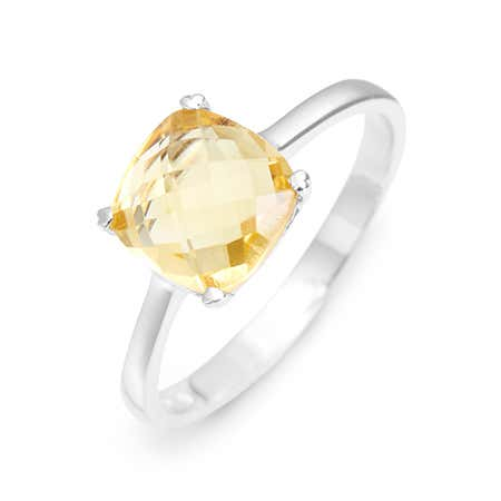 Citrine November Birthstone Ring With Cushion Cut Gemstone