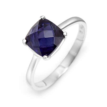 December Lolite Square Birthstone Cushion Cut Stone Ring