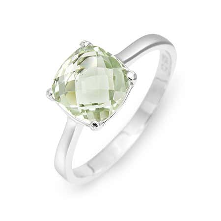 Green Amethyst Cushion Cut Stone Birthstone Ring in Silver