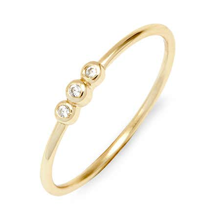 Dainty Cubic Zirconia Bezel Set Gold Stackable Ring