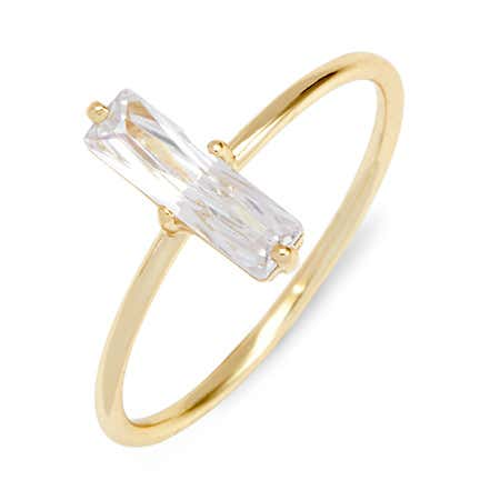 1 Stone Baguette CZ Gold Plated Stackable Dainty Petite Ring