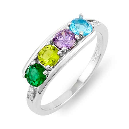Petite 4 Stone Silver Birthstone Ring