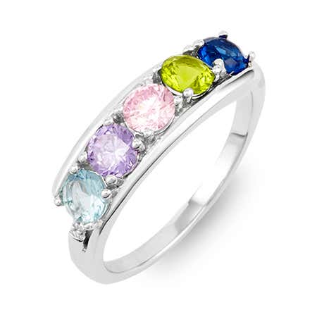 Petite 5 Stone Silver Birthstone Ring