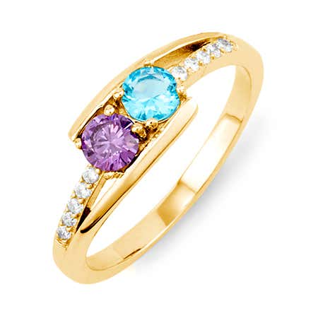 Petite 2 Stone Gold Birthstone Ring