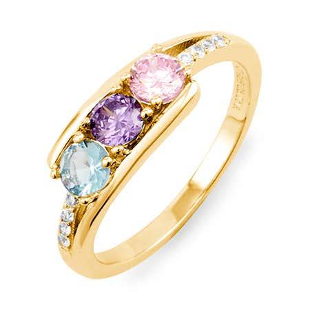 Petite 3 Stone Gold Birthstone Ring