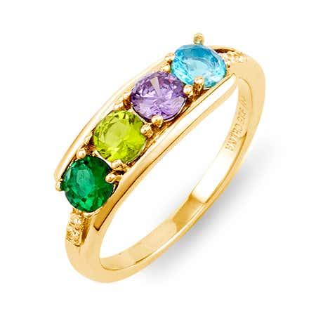 Petite 4 Stone Gold Birthstone Ring