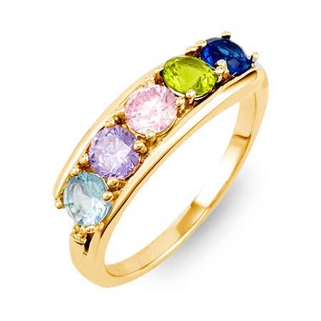 Petite 5 Stone Gold Birthstone Ring