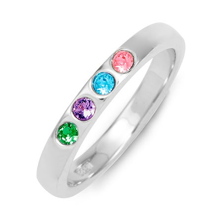 Engravable 4-Stone Personalized Birthstone Band With CZs