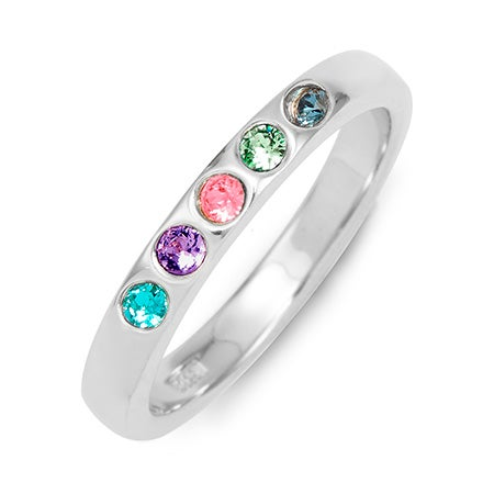 Engraved Personal 5 Stone Sterling Silver Birthstone Band