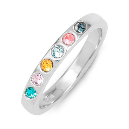 Customizable 6-Stone Birthstone Cubic Zirconia Silver Ring