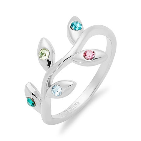 5 Stone Birthstone Olive Branch Ring in Sterling Silver