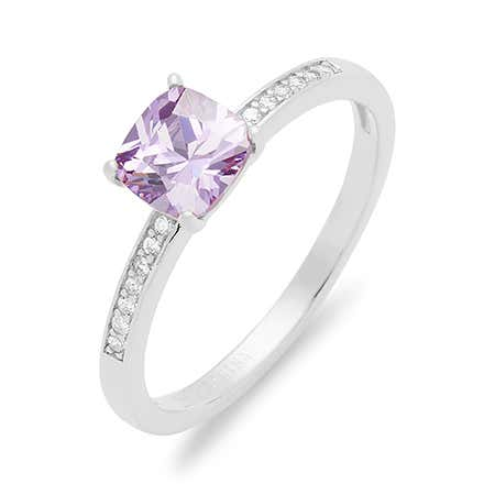 Square Cut Single Birthstone Pave CZ Band Silver Ring