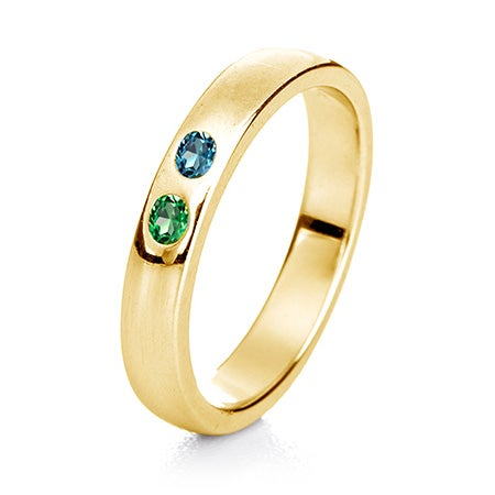 2-Stone Gold Birthstone Ring | 2 Stone Mothers Ring