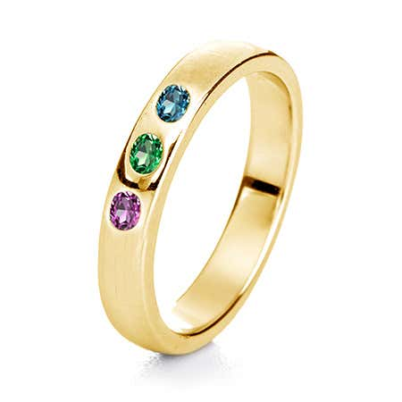 3 Stone Birthstone Gold Ring