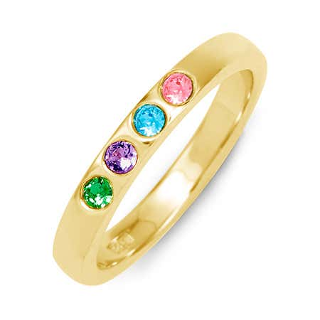 4 Stone Personalized Gold Plated Silver Birthstone Ring