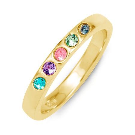 5 Stone Gold Birthstone Ring | Custom 5 Stone Mothers Ring
