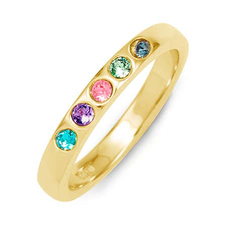 5 Stone Birthstone Gold Ring