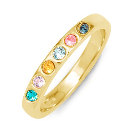 Custom 6 Stone Gold Ring | Personal Gold 5 Stone Mother Ring