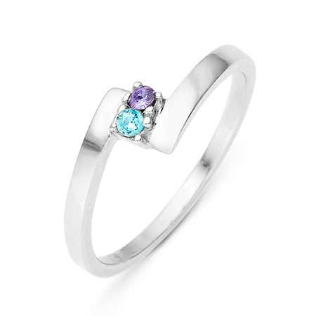 2 Stone Birthstone Silver Bypass Ring