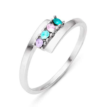 4 Stone Birthstone Silver Bypass Ring