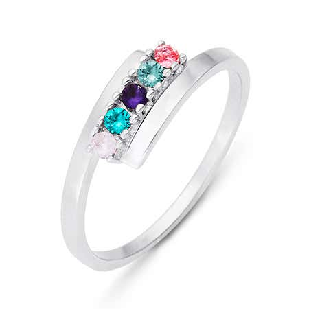 5 Stone Birthstone Silver Bypass Ring