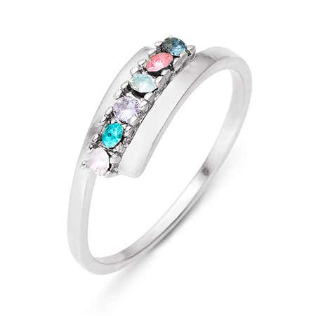 6 Stone Birthstone Silver Bypass Ring