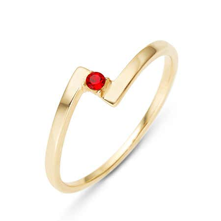 Custom Birthstone Gold Bypass Ring